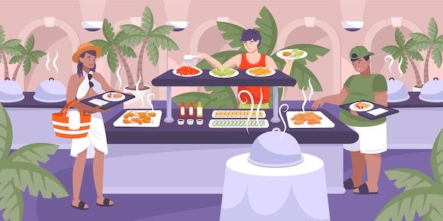 Отель все включено иллюстрация с рестораном