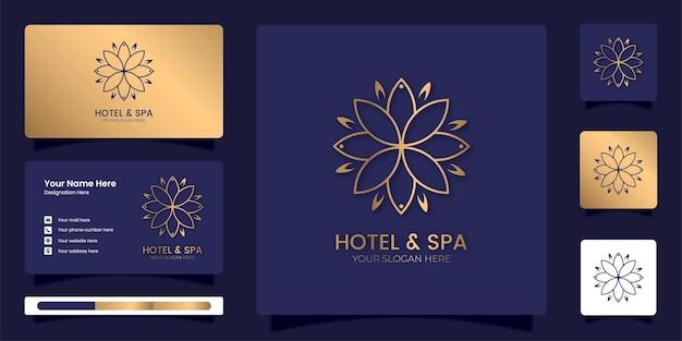 高級ブランドのアイデンティティテンプレートとホテルとスパの曼荼羅のロゴ