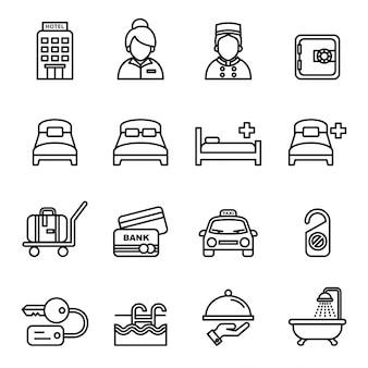 Отель и туристический набор иконок