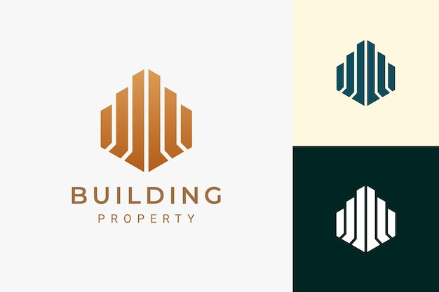 Hotel or apartment logo in luxury and abstract building shape