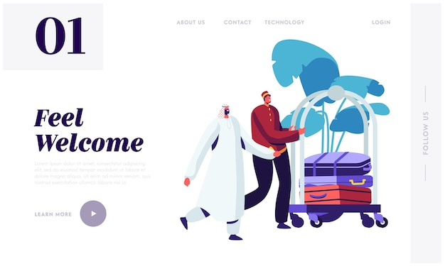 Hotel bellboy meet arabic guest in hall transporting baggage by cart landing page