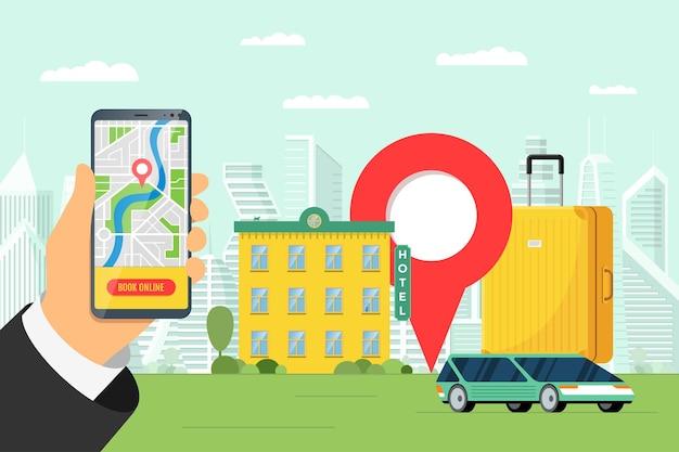 Онлайн-сервис бронирования отелей и каршеринга для концепции туристического отдыха. мобильное бронирование квартир и транспорта для путешествий. чемодан багажа мотеля и булавка местоположения на смартфоне векторная иллюстрация