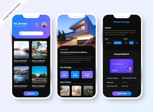 Экран дизайна пользовательского интерфейса приложения для бронирования отелей