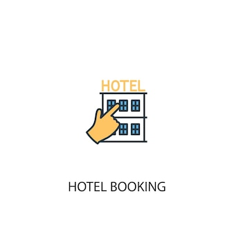 Hotel booking concept 2 colored line icon. simple yellow and blue element illustration. hotel booking concept outline symbol design