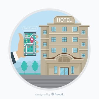 Hotel booking concept background