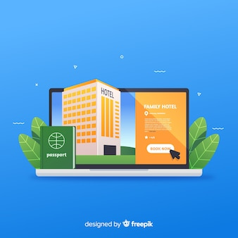 Hotel booking concept in flat style