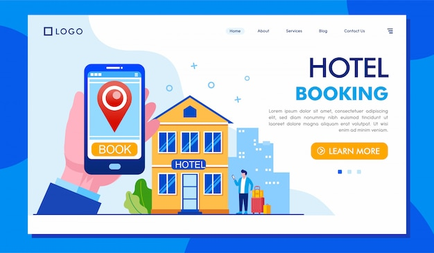 Hotel booking landing page illustration  template