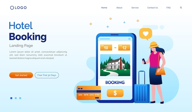 Hotel booking landing page website illustration