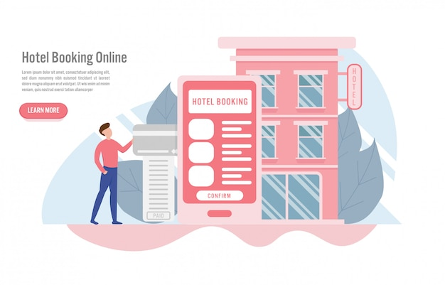 Hotel booking online and reservation concept
