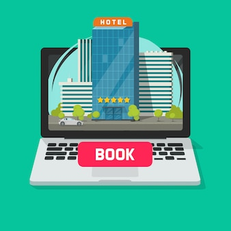 Hotel booking online using laptop computer flat cartoon illustration