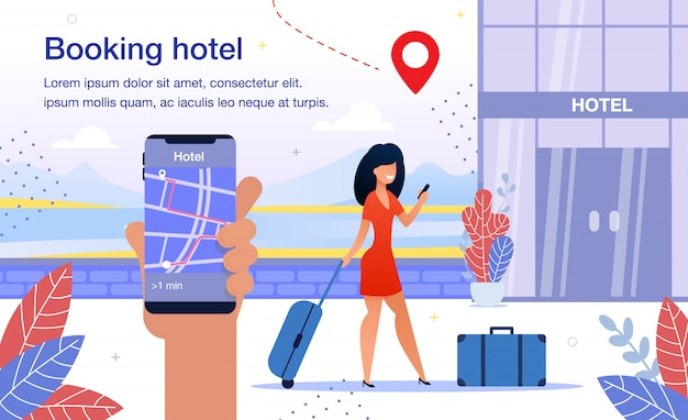 Hotel booking smartphone app flat vector ad poster