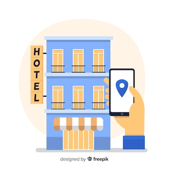 Hotel booking through mobile phone background