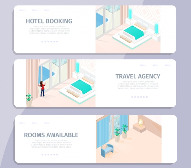 Hotel booking travel agency rooms available banner
