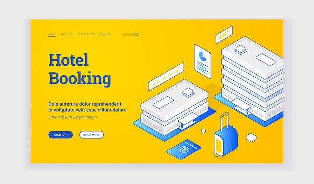 Hotel booking. vector isometric illustration of hotel buildings with luggage and passport on banner advertising room booking service. isometric web banner, landing page template