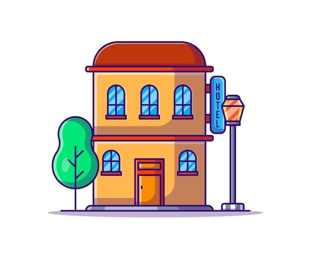 Здание гостиницы иллюстрации шаржа