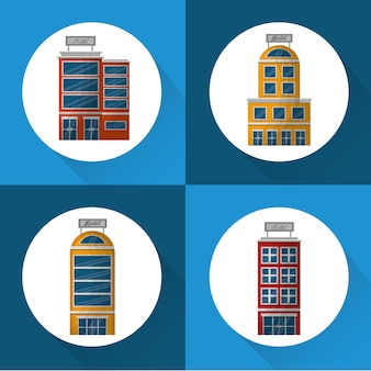 Hotel building colorful stickers lodging vector illustration