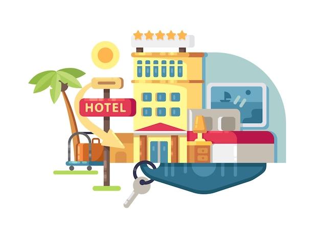 Здание гостиницы пять звезд. лучшие услуги и удобства. векторная иллюстрация