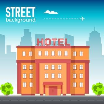 Здание гостиницы в городском пространстве с дорогой на плоской концепции фона