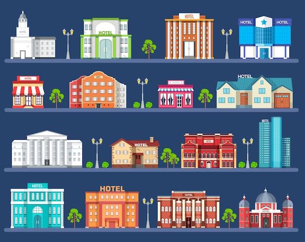 フラットスタイルの道路と都市空間のホテルの建物