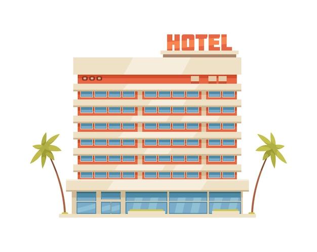 手のひらの漫画のアイコンと熱帯の国のホテルの建物