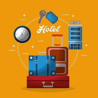 Гостиничное здание чемоданы часы ключевые услуги
