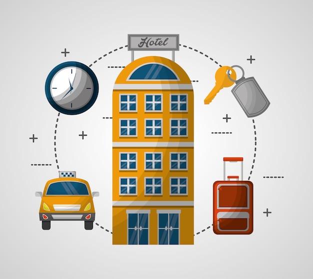 Здание здание такси чемодан часы ключ векторная иллюстрация