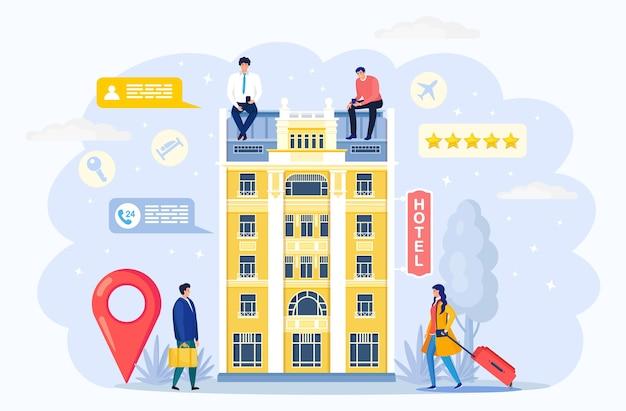 ホテルの建物。荷物、スーツケースを持つ観光客。予約アパートのコンセプト。