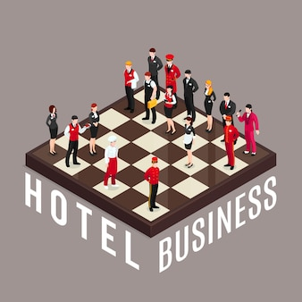 Hotel business chess concept