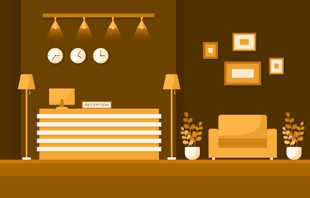 ホテルチェックインフロントロビールーム家具インテリアイラスト