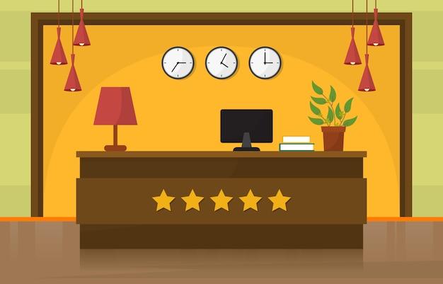 Hotel check in reception desk lobby room furniture interior illustration