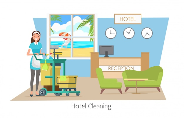 Hotel cleaning, cleaning service on vacation.