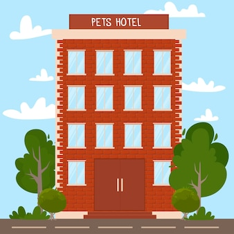 Hotel for different domestics animals concept of business holiday and petcare various cute pets in building windows trendy flat vector illustration on white background vector illustration