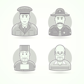 Hotel doorman, texas policeman, medical surgeon, school teacher. set of character, avatar and person  illustrations.  black and white outlined style.