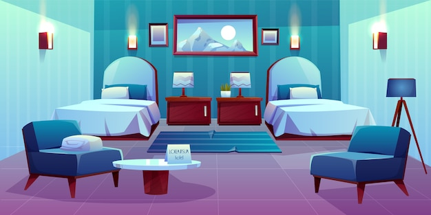 Hotel double room cartoon illustration