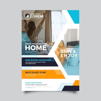 Hotel flyer template with photo