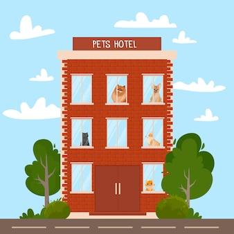 비즈니스 휴가 및 애완 동물 관리의 다른 가축 개념을 위한 호텔 건물 창에서 다양한 귀여운 애완 동물을 보호합니다. 배경 벡터 일러스트 레이 션에 유행 평면 벡터 일러스트 레이 션