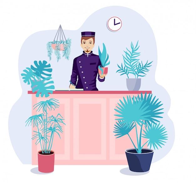 식물을위한 호텔. 집을 떠나 여행 할 때 실내 식물을 떠날 수있는 장소.