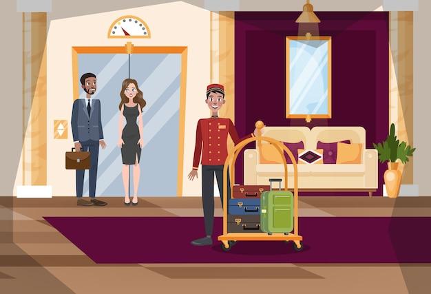 호텔 홀 또는 복도 내부. 제복을 입은 노동자