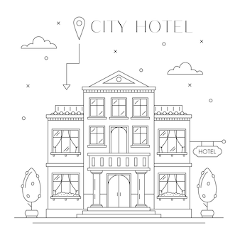 Hotel or hostel building facade flat line design