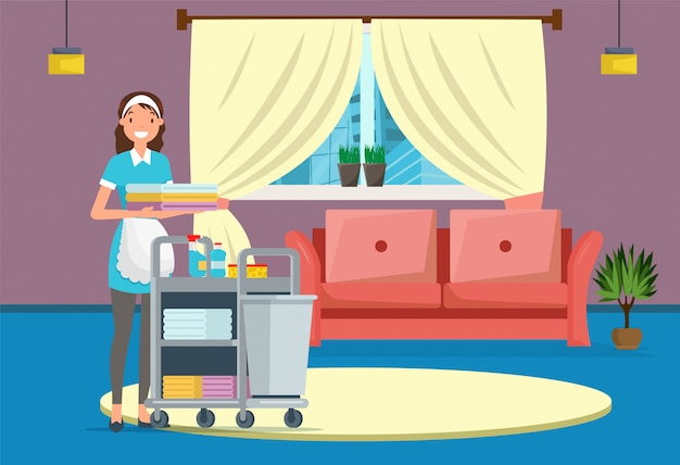 Hotel or house cleaning service, maid in room.