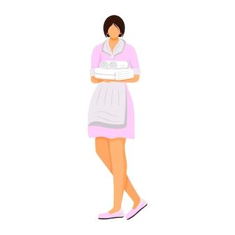 호텔 가정부 평면 컬러 일러스트입니다. 접힌 수건을 들고 제복을 입은 하녀. 객실 승무원, 가사 노동자. 청소 서비스 직원 격리 된 만화 캐릭터 흰색 배경에