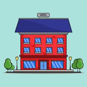 호텔, 아이콘 호텔, 예약, 포터, 레크리에이션, 건물. 평면 디자인, 벡터