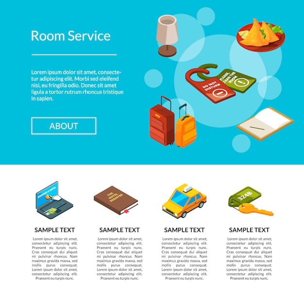 Hotel icons page illustration. hotels services