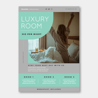 Hotel information flyer template with photo