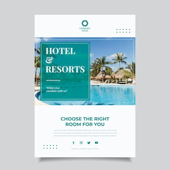Hotel information flyer with photo