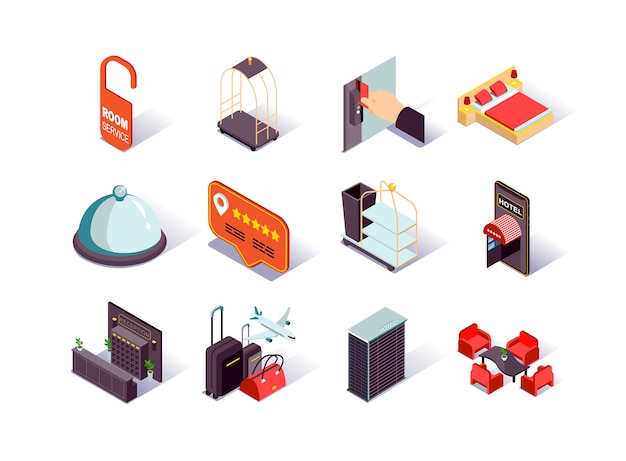 Hotel infrastructure isometric icons set.