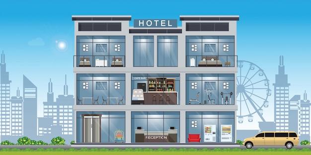 Интерьер отеля установлен внутри здания.