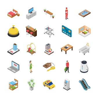 Hotel isometric icons pack