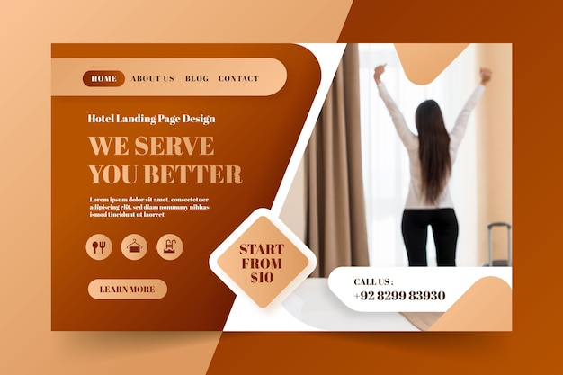 Hotel landing page template with photo
