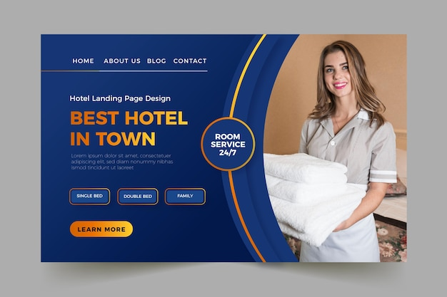 Hotel landing page template with photo Free Vector